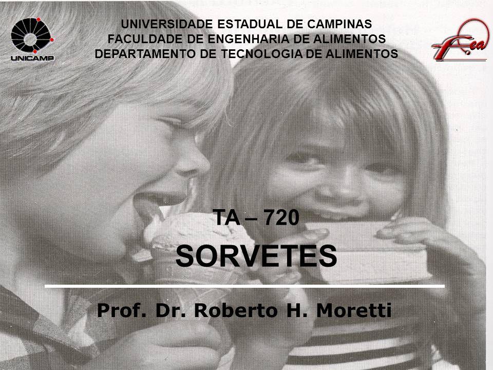 TA – 720 SORVETES UNIVERSIDADE ESTADUAL DE CAMPINAS FACULDADE DE ENGENHARIA DE ALIMENTOS DEPARTAMENTO DE TECNOLOGIA DE ALIMENTOS Prof.