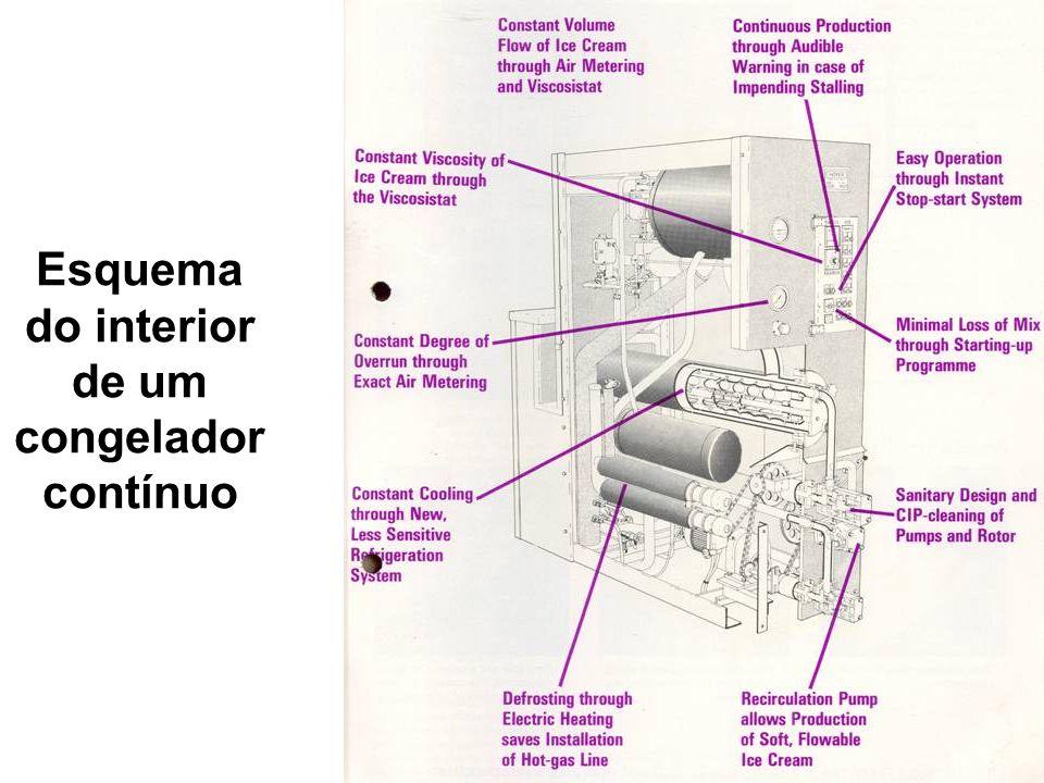 Esquema do interior de um congelador contínuo