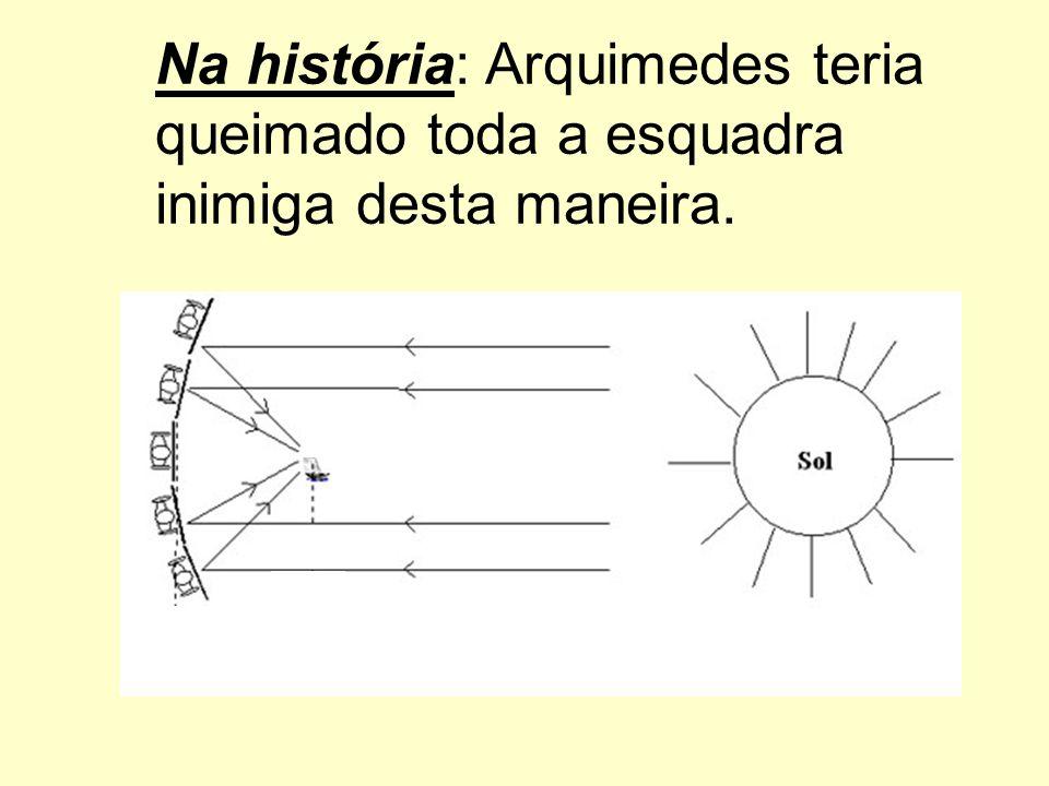 Na história: Arquimedes teria queimado toda a esquadra inimiga desta maneira.