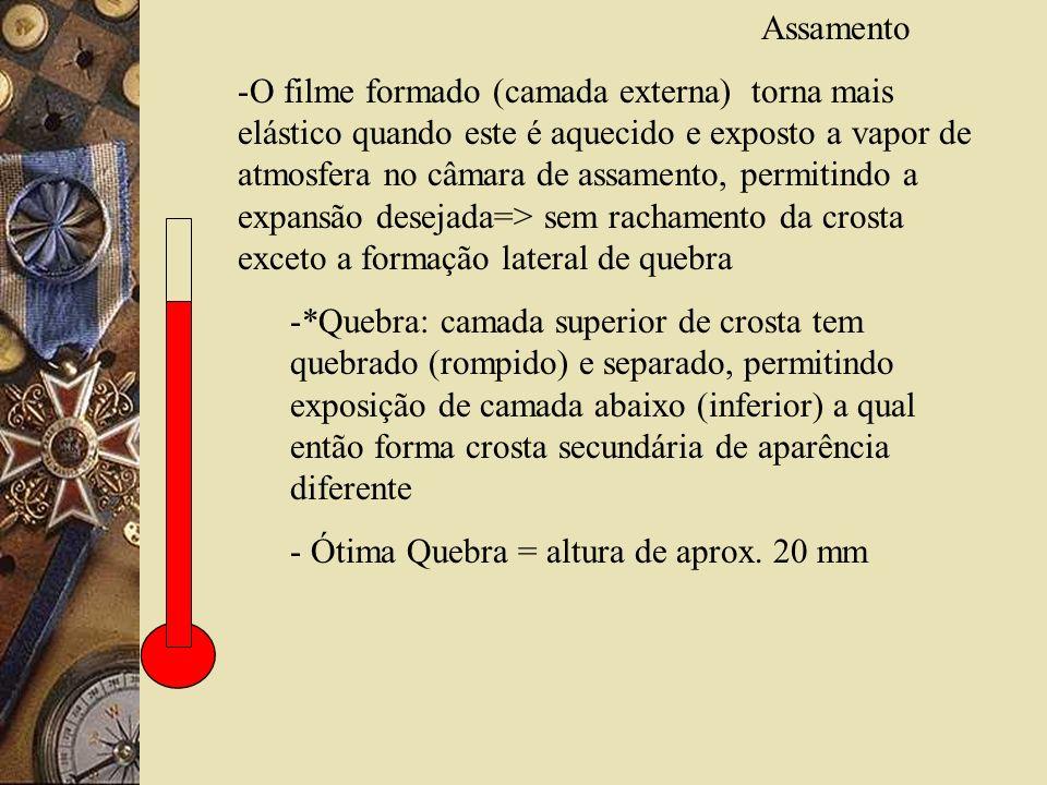 Assamento -O filme formado (camada externa) torna mais elástico quando este é aquecido e exposto a vapor de atmosfera no câmara de assamento, permitin