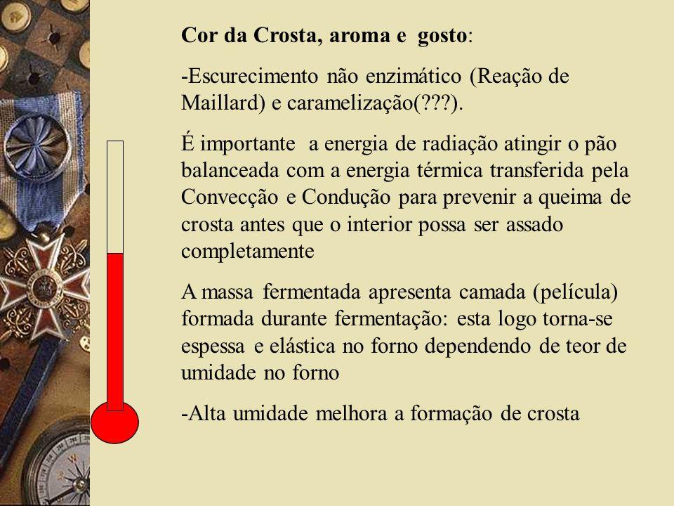 Cor da Crosta, aroma e gosto: -Escurecimento não enzimático (Reação de Maillard) e caramelização(???).