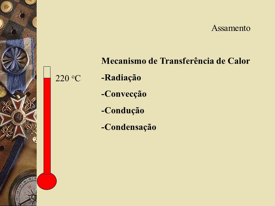Assamento Mecanismo de Transferência de Calor -Radiação -Convecção -Condução -Condensação 220 o C