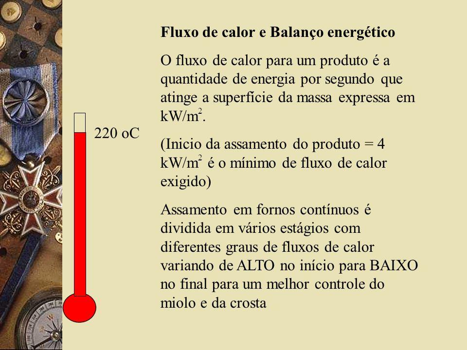 220 oC Fluxo de calor e Balanço energético O fluxo de calor para um produto é a quantidade de energia por segundo que atinge a superfície da massa expressa em kW/m 2.