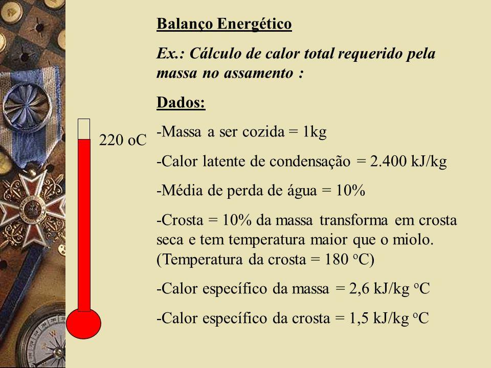 220 oC Balanço Energético Ex.: Cálculo de calor total requerido pela massa no assamento : Dados: -Massa a ser cozida = 1kg -Calor latente de condensação = 2.400 kJ/kg -Média de perda de água = 10% -Crosta = 10% da massa transforma em crosta seca e tem temperatura maior que o miolo.