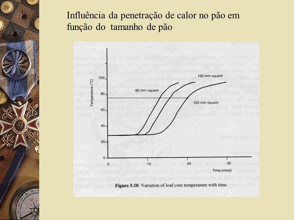 Influência da penetração de calor no pão em função do tamanho de pão