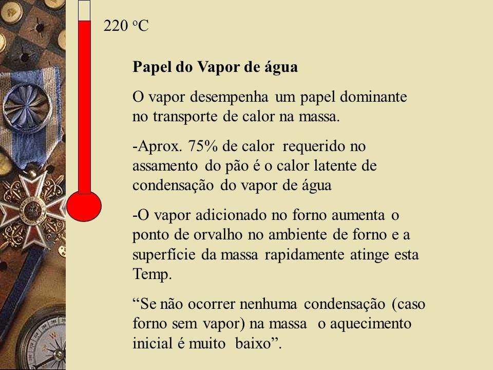 220 o C Papel do Vapor de água O vapor desempenha um papel dominante no transporte de calor na massa. -Aprox. 75% de calor requerido no assamento do p