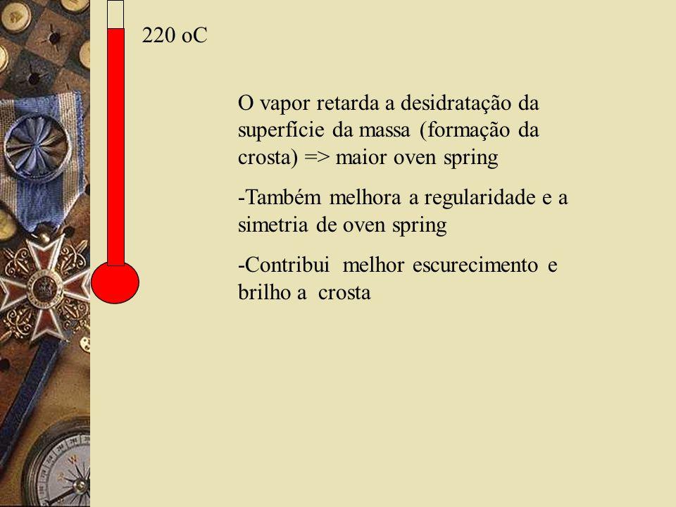 220 oC O vapor retarda a desidratação da superfície da massa (formação da crosta) => maior oven spring -Também melhora a regularidade e a simetria de oven spring -Contribui melhor escurecimento e brilho a crosta