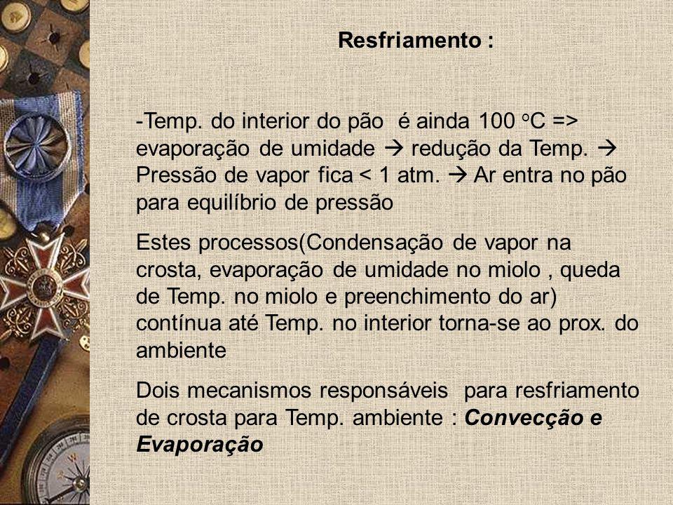 Resfriamento : -Temp.do interior do pão é ainda 100 o C => evaporação de umidade redução da Temp.
