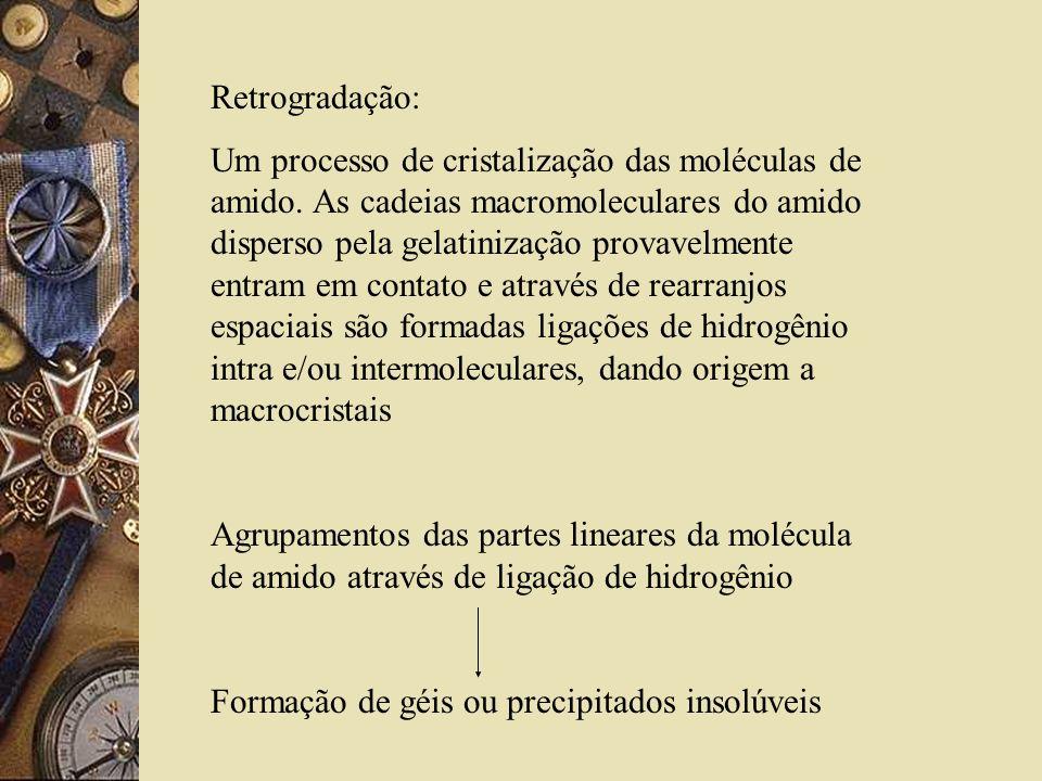 Retrogradação: Um processo de cristalização das moléculas de amido.