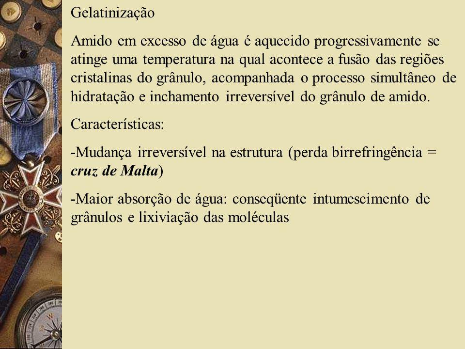 Gelatinização Amido em excesso de água é aquecido progressivamente se atinge uma temperatura na qual acontece a fusão das regiões cristalinas do grânulo, acompanhada o processo simultâneo de hidratação e inchamento irreversível do grânulo de amido.