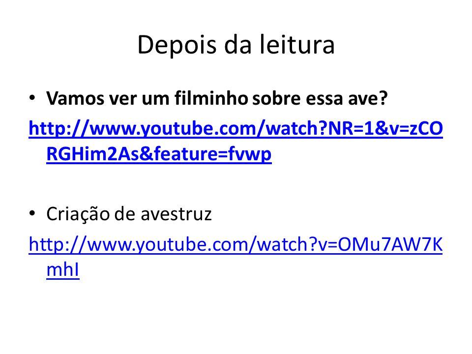Depois da leitura Vamos ver um filminho sobre essa ave? http://www.youtube.com/watch?NR=1&v=zCO RGHim2As&feature=fvwp Criação de avestruz http://www.y