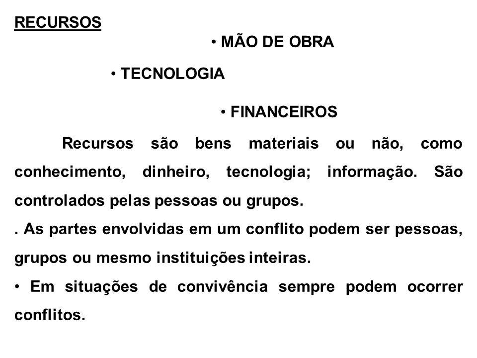 RECURSOS MÃO DE OBRA TECNOLOGIA FINANCEIROS Recursos são bens materiais ou não, como conhecimento, dinheiro, tecnologia; informação. São controlados p