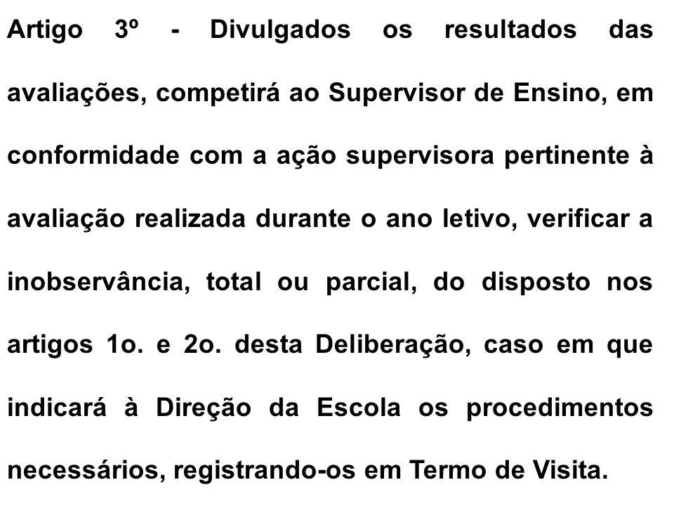 § 2º - O expediente será ainda instruído com relatório elaborado pelo supervisor de ensino da Escola.