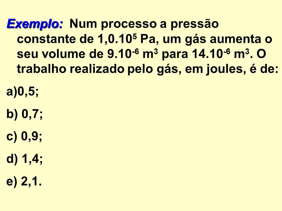 Exemplo: Exemplo: Num processo a pressão constante de 1,0.10 5 Pa, um gás aumenta o seu volume de 9.10 -6 m 3 para 14.10 -6 m 3.