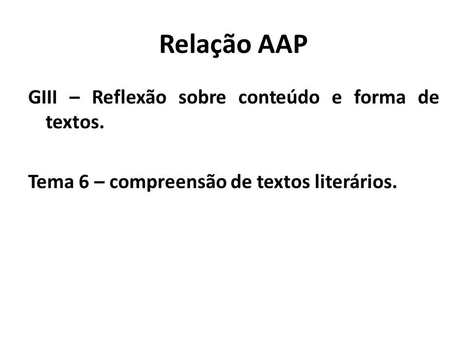 Relação AAP GIII – Reflexão sobre conteúdo e forma de textos. Tema 6 – compreensão de textos literários.