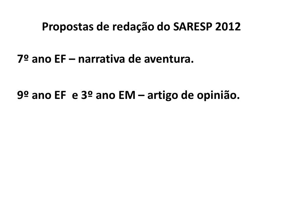 Propostas de redação do SARESP 2012 7º ano EF – narrativa de aventura. 9º ano EF e 3º ano EM – artigo de opinião.