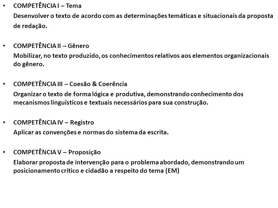 COMPETÊNCIA I – Tema Desenvolver o texto de acordo com as determinações temáticas e situacionais da proposta de redação. COMPETÊNCIA II – Gênero Mobil