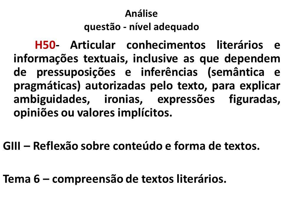 Análise questão - nível adequado H50 H50- Articular conhecimentos literários e informações textuais, inclusive as que dependem de pressuposições e inf