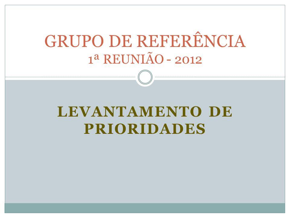 LEVANTAMENTO DE PRIORIDADES GRUPO DE REFERÊNCIA 1ª REUNIÃO - 2012
