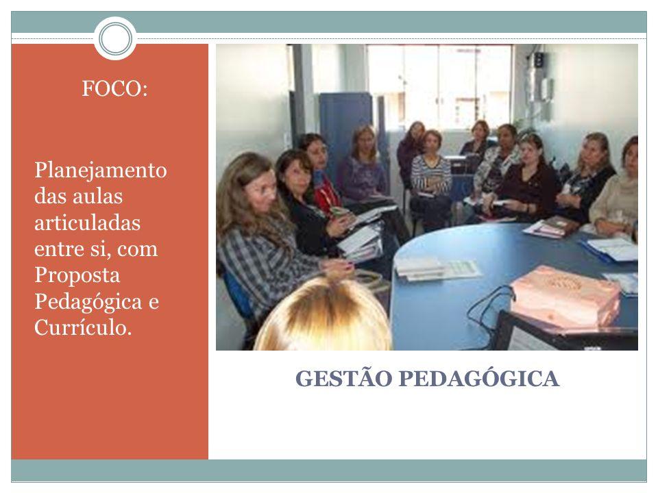 GESTÃO PEDAGÓGICA FOCO: Planejamento das aulas articuladas entre si, com Proposta Pedagógica e Currículo.