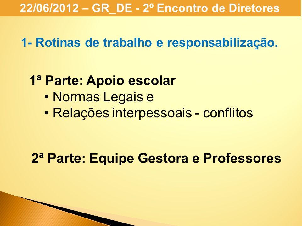 22/06/2012 – GR_DE - 2º Encontro de Diretores 1- Rotinas de trabalho e responsabilização. 1ª Parte: Apoio escolar Normas Legais e Relações interpessoa