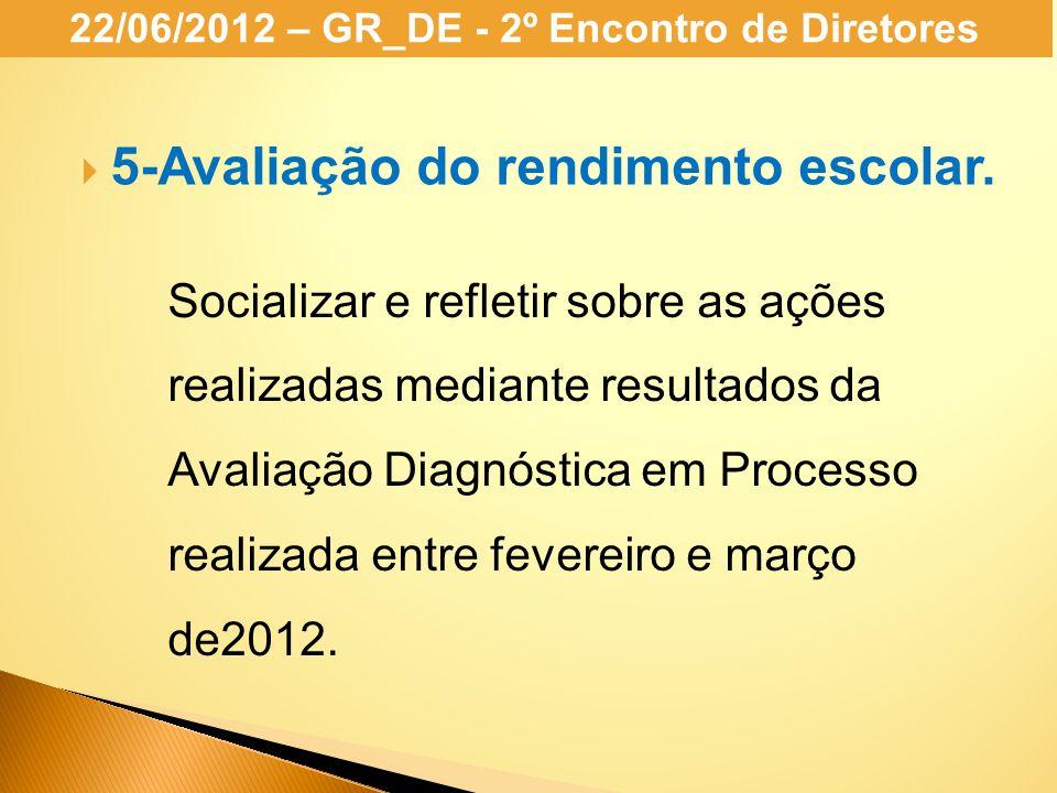Socializar e refletir sobre as ações realizadas mediante resultados da Avaliação Diagnóstica em Processo realizada entre fevereiro e março de2012. 5-A