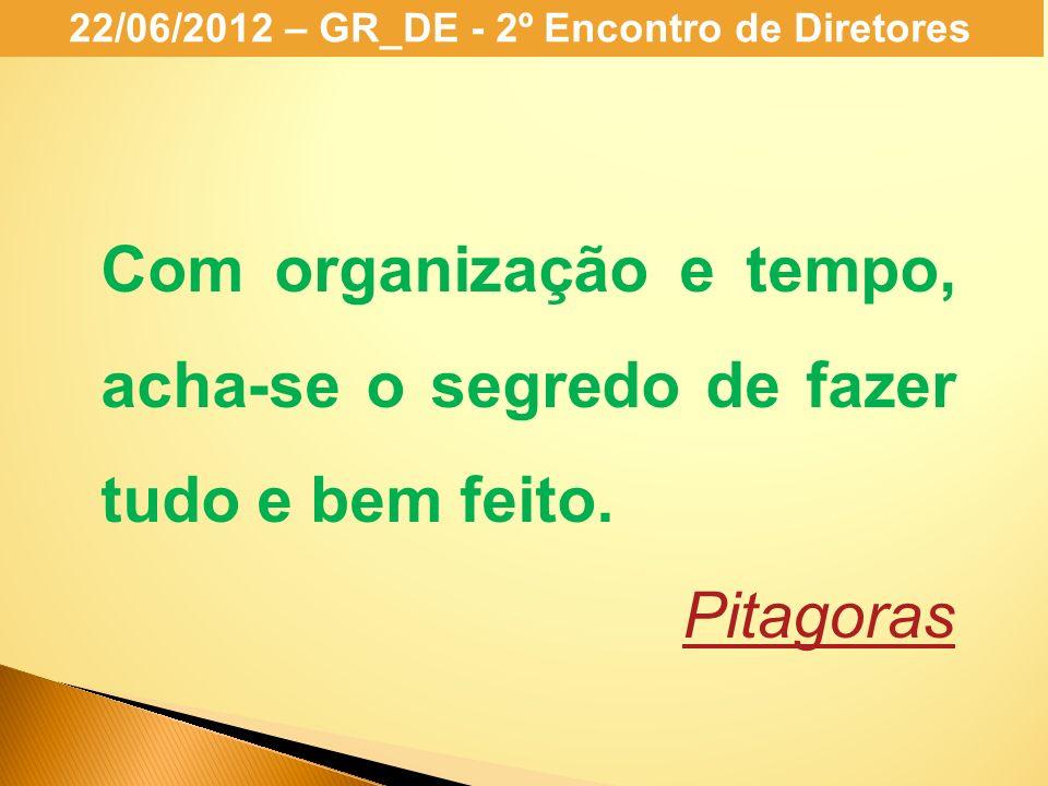 22/06/2012 – GR_DE - 2º Encontro de Diretores Com organização e tempo, acha-se o segredo de fazer tudo e bem feito. Pitagoras