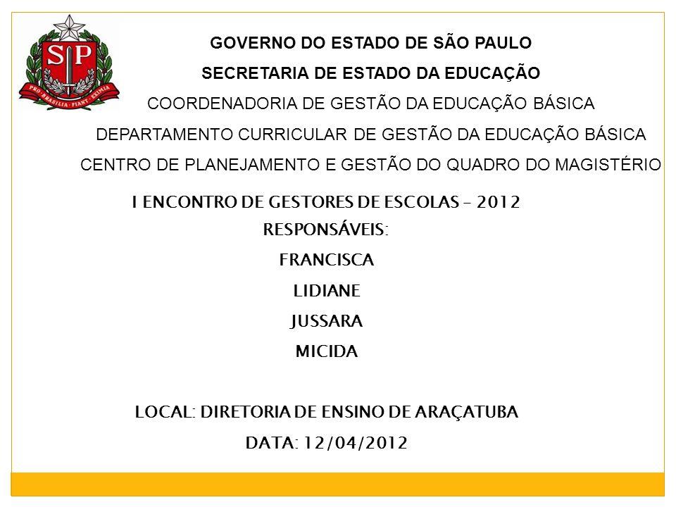 GOVERNO DO ESTADO DE SÃO PAULO SECRETARIA DE ESTADO DA EDUCAÇÃO COORDENADORIA DE GESTÃO DA EDUCAÇÃO BÁSICA DEPARTAMENTO CURRICULAR DE GESTÃO DA EDUCAÇ