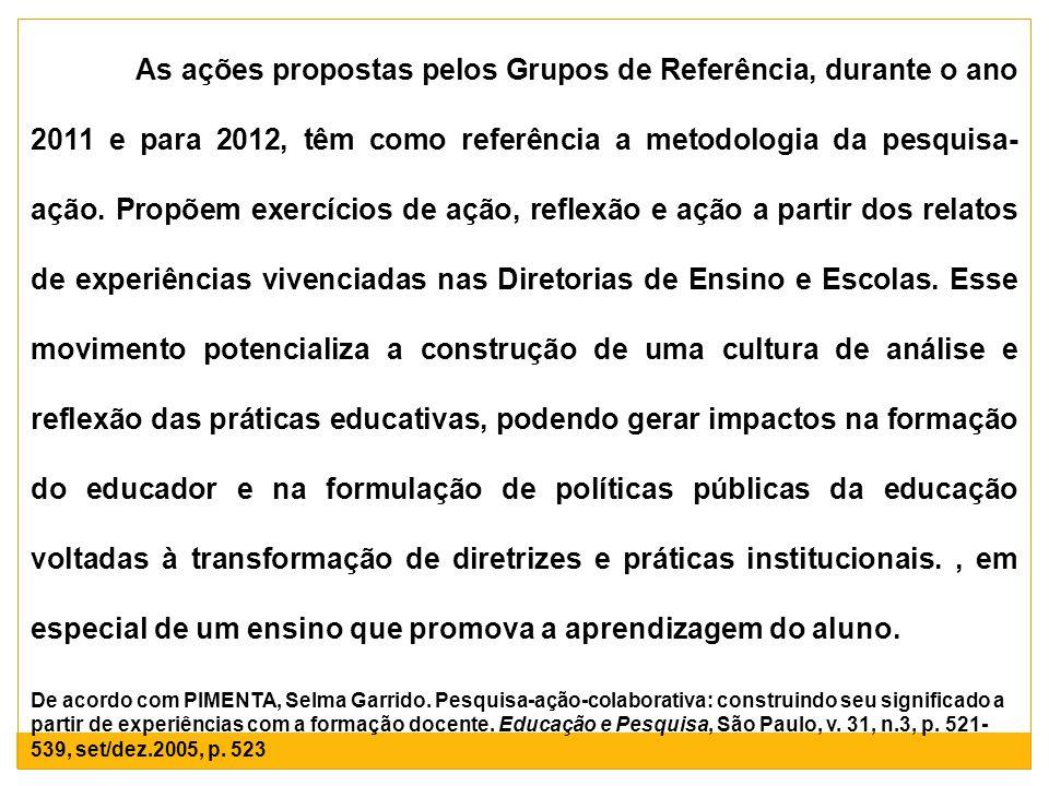 As ações propostas pelos Grupos de Referência, durante o ano 2011 e para 2012, têm como referência a metodologia da pesquisa- ação. Propõem exercícios