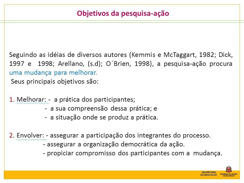 Objetivos da pesquisa-ação Seguindo as idéias de diversos autores (Kemmis e McTaggart, 1982; Dick, 1997 e 1998; Arellano, (s.d); O´Brien, 1998), a pes
