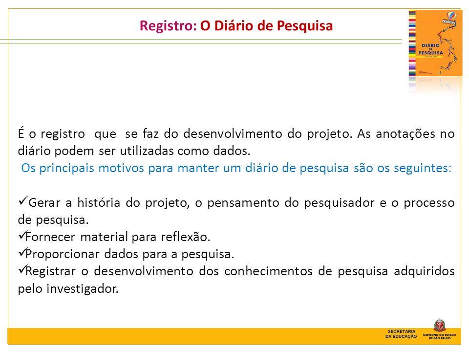 Registro: O Diário de Pesquisa É o registro que se faz do desenvolvimento do projeto. As anotações no diário podem ser utilizadas como dados. Os princ