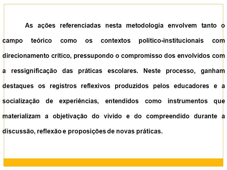 As ações referenciadas nesta metodologia envolvem tanto o campo teórico como os contextos político-institucionais com direcionamento crítico, pressupo