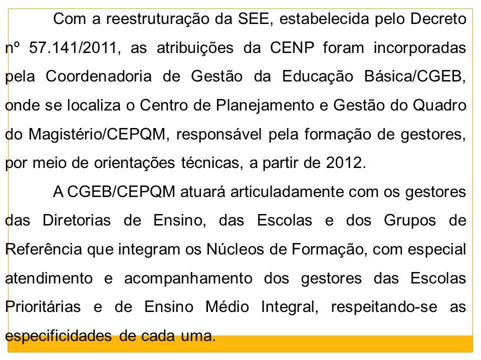 Com a reestruturação da SEE, estabelecida pelo Decreto nº 57.141/2011, as atribuições da CENP foram incorporadas pela Coordenadoria de Gestão da Educa