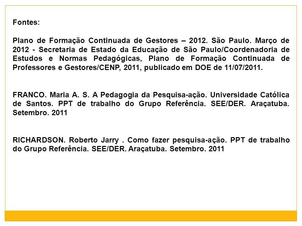 Fontes: Plano de Formação Continuada de Gestores – 2012. São Paulo. Março de 2012 - Secretaria de Estado da Educação de São Paulo/Coordenadoria de Est