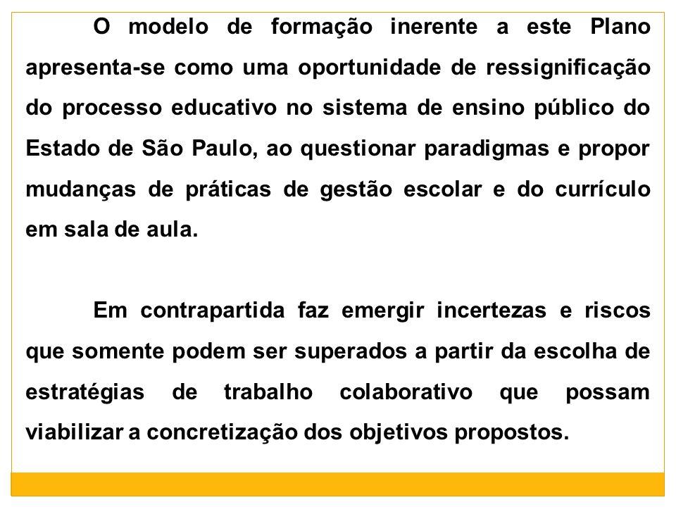 O modelo de formação inerente a este Plano apresenta-se como uma oportunidade de ressignificação do processo educativo no sistema de ensino público do