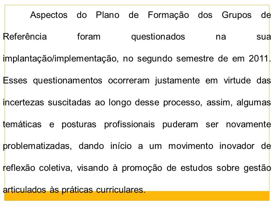 Aspectos do Plano de Formação dos Grupos de Referência foram questionados na sua implantação/implementação, no segundo semestre de em 2011. Esses ques