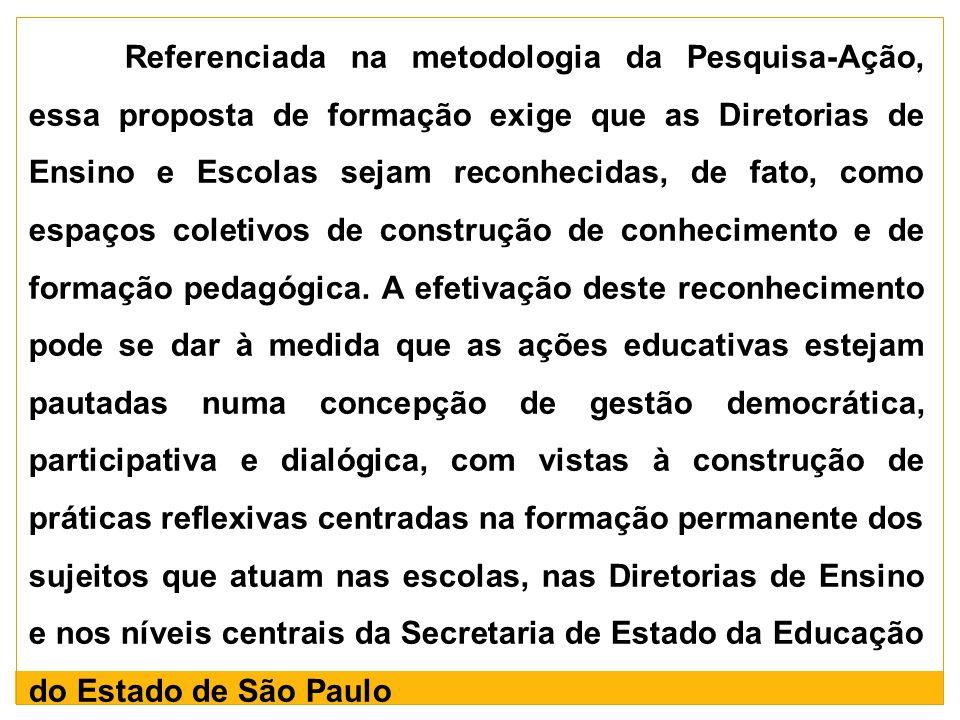 Referenciada na metodologia da Pesquisa-Ação, essa proposta de formação exige que as Diretorias de Ensino e Escolas sejam reconhecidas, de fato, como