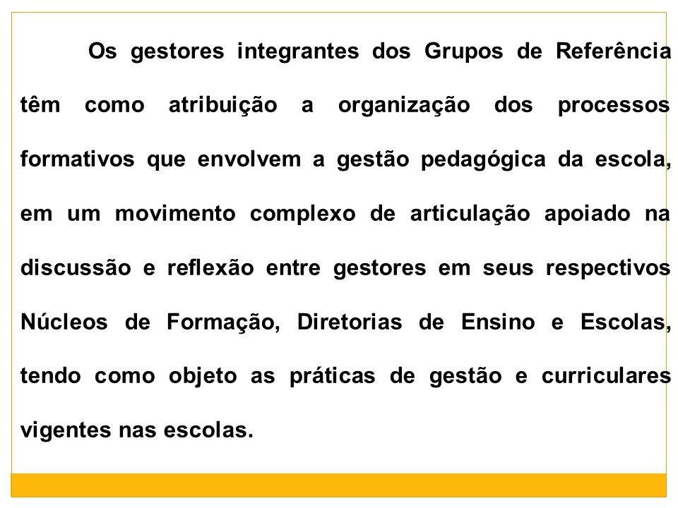 Os gestores integrantes dos Grupos de Referência têm como atribuição a organização dos processos formativos que envolvem a gestão pedagógica da escola