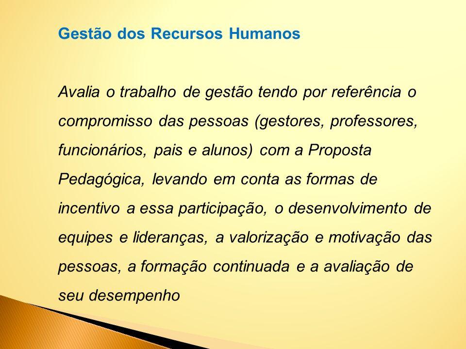Gestão dos Recursos Humanos Avalia o trabalho de gestão tendo por referência o compromisso das pessoas (gestores, professores, funcionários, pais e al
