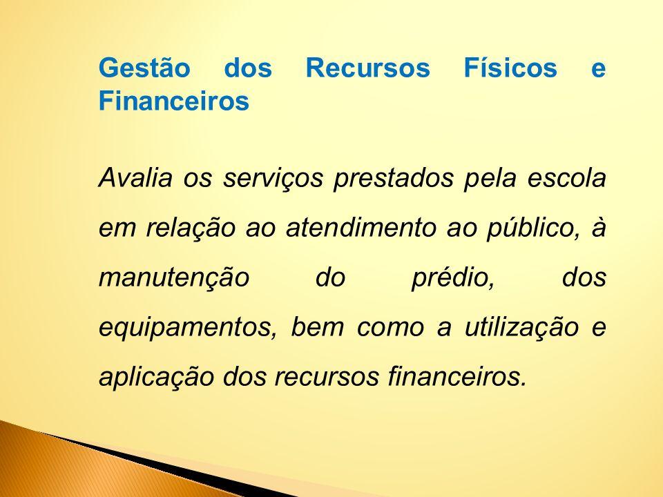 Gestão dos Recursos Físicos e Financeiros Avalia os serviços prestados pela escola em relação ao atendimento ao público, à manutenção do prédio, dos e