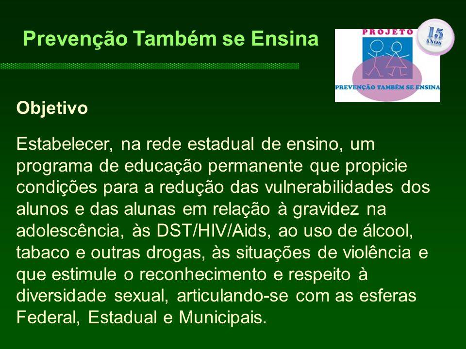Objetivo Estabelecer, na rede estadual de ensino, um programa de educação permanente que propicie condições para a redução das vulnerabilidades dos al