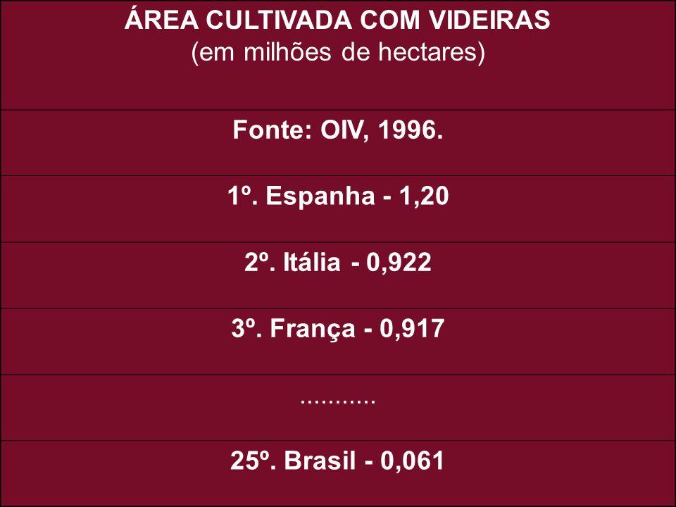 ÁREA CULTIVADA COM VIDEIRAS (em milhões de hectares) Fonte: OIV, 1996. 1º. Espanha - 1,20 2º. Itália - 0,922 3º. França - 0,917........... 25º. Brasil