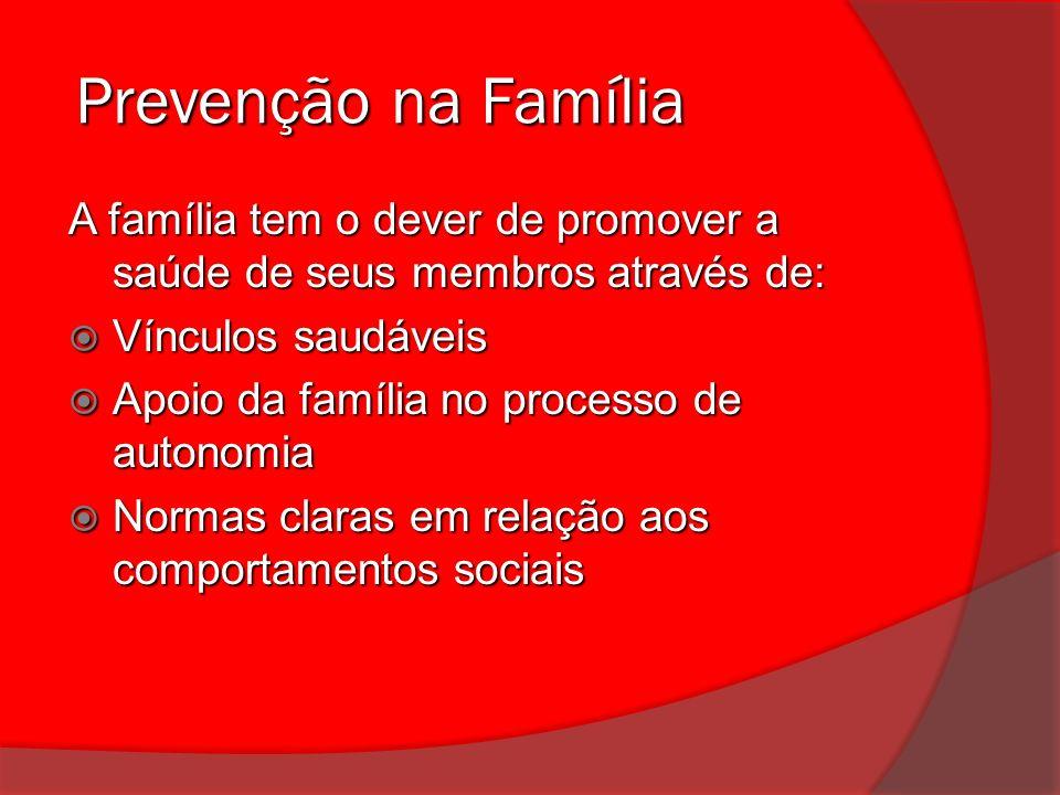 Prevenção na Família Prevenção na Família A família tem o dever de promover a saúde de seus membros através de: Vínculos saudáveis Vínculos saudáveis