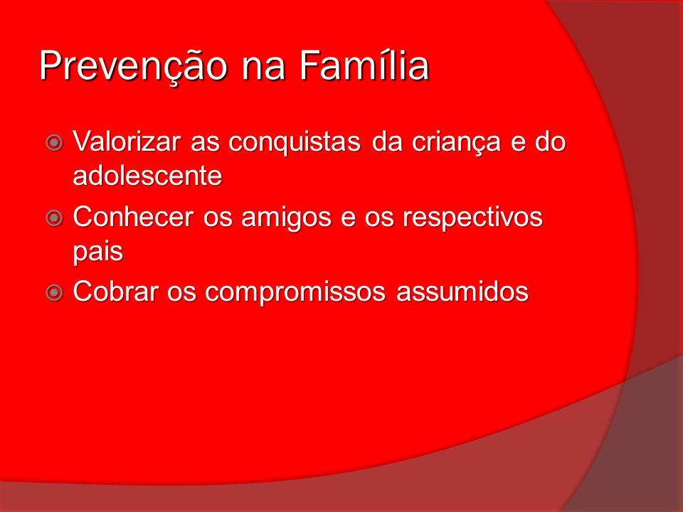 Prevenção na Família Valorizar as conquistas da criança e do adolescente Valorizar as conquistas da criança e do adolescente Conhecer os amigos e os r