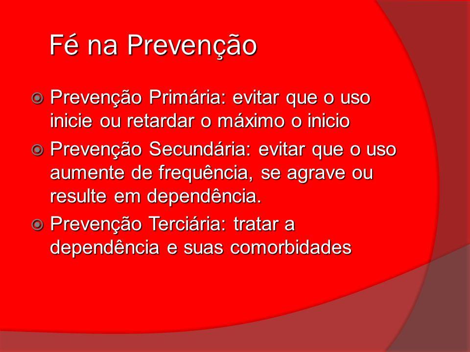 Fé na Prevenção Fé na Prevenção Prevenção Primária: evitar que o uso inicie ou retardar o máximo o inicio Prevenção Primária: evitar que o uso inicie