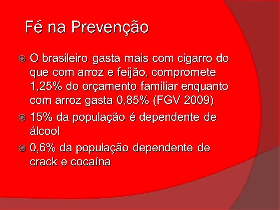Fé na Prevenção Fé na Prevenção O brasileiro gasta mais com cigarro do que com arroz e feijão, compromete 1,25% do orçamento familiar enquanto com arr