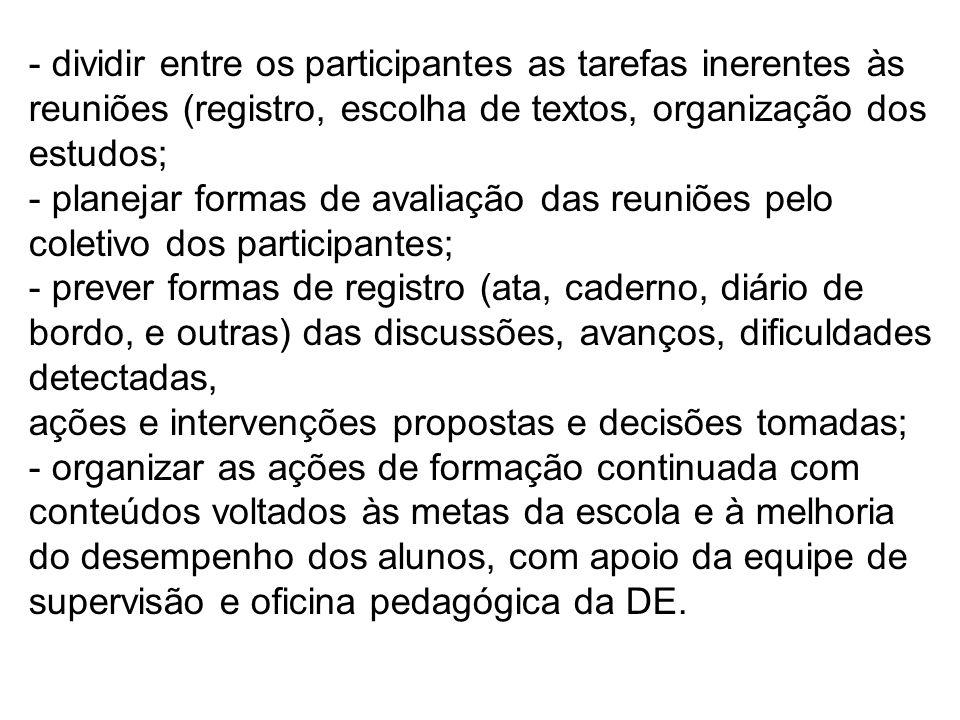 - dividir entre os participantes as tarefas inerentes às reuniões (registro, escolha de textos, organização dos estudos; - planejar formas de avaliaçã