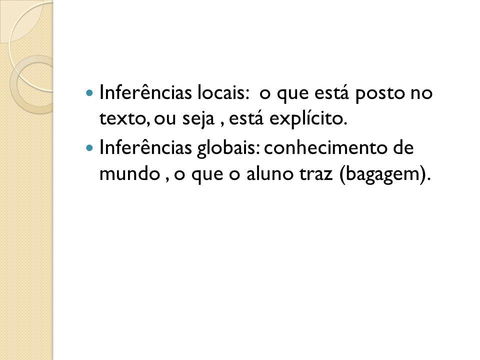 Inferências locais: o que está posto no texto, ou seja, está explícito. Inferências globais: conhecimento de mundo, o que o aluno traz (bagagem).