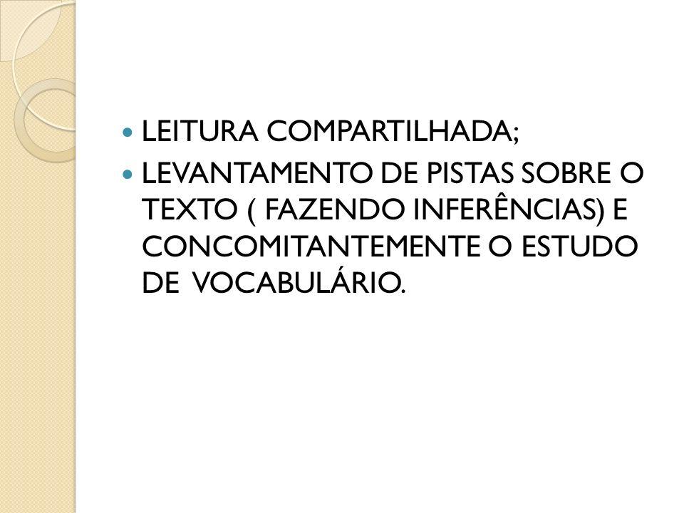 LEITURA COMPARTILHADA; LEVANTAMENTO DE PISTAS SOBRE O TEXTO ( FAZENDO INFERÊNCIAS) E CONCOMITANTEMENTE O ESTUDO DE VOCABULÁRIO.