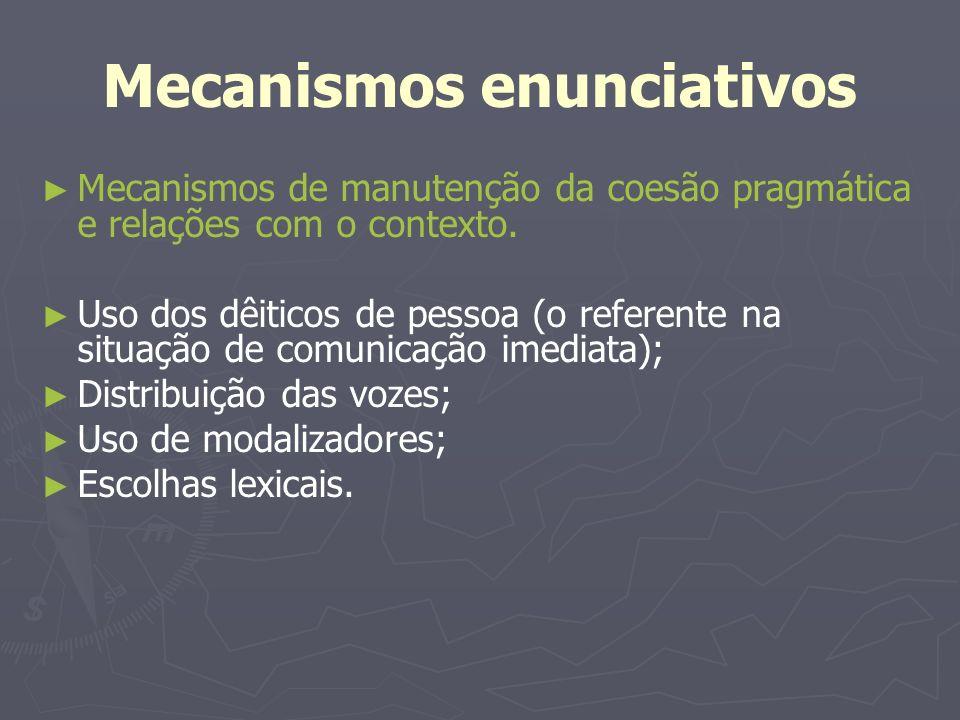 Mecanismos enunciativos Mecanismos de manutenção da coesão pragmática e relações com o contexto. Uso dos dêiticos de pessoa (o referente na situação d